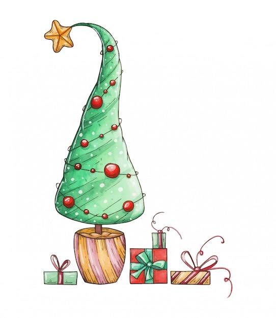 水彩のクリスマスツリーとギフト。クリスマスイラスト手描き Premiumベクター