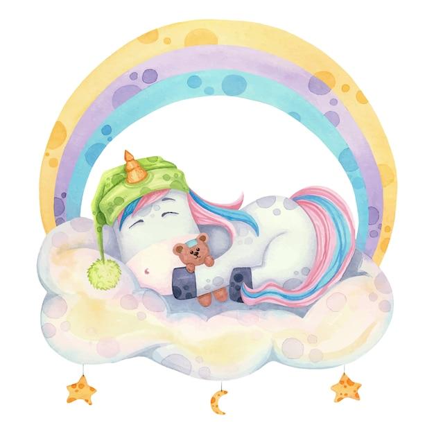 虹の下の雲で寝ている漫画スタイルのかわいいユニコーン。水彩イラスト Premiumベクター