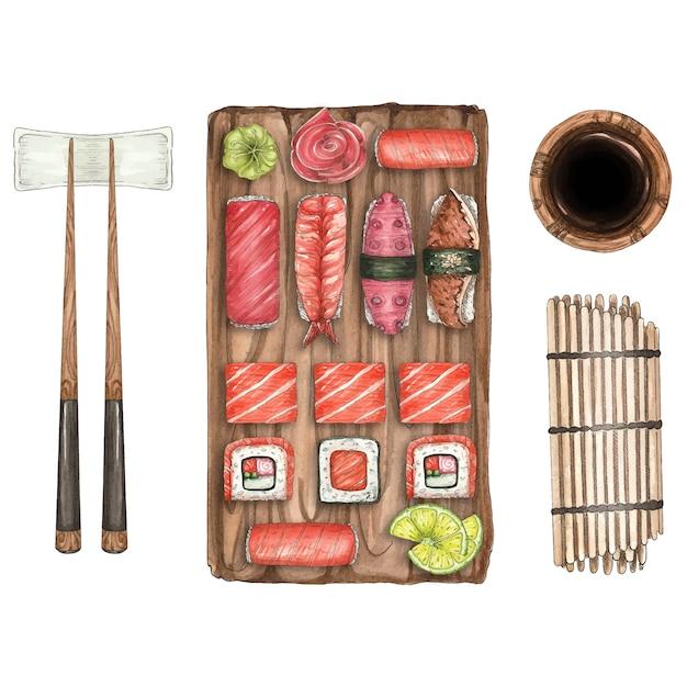 寿司と木の板とスティックの水彩イラスト Premiumベクター