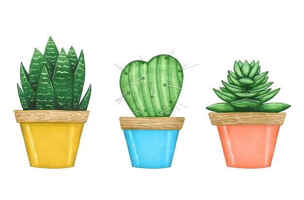 カラーポットの家の植物のセットで描かれたイラストを手します。 Premiumベクター