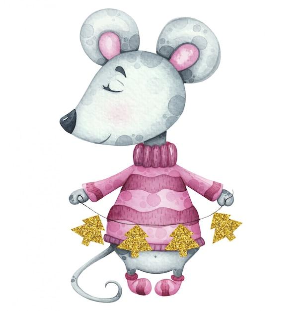 Новогодняя иллюстрация с мышкой в свитере с золотыми гирляндами деревьев Premium векторы