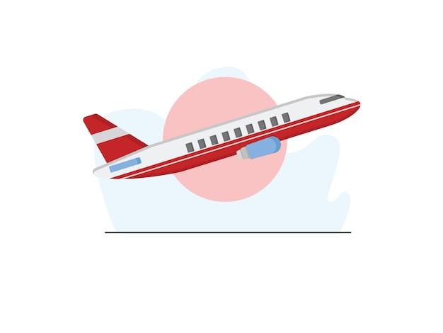Иллюстрация самолета в плоском стиле Premium векторы