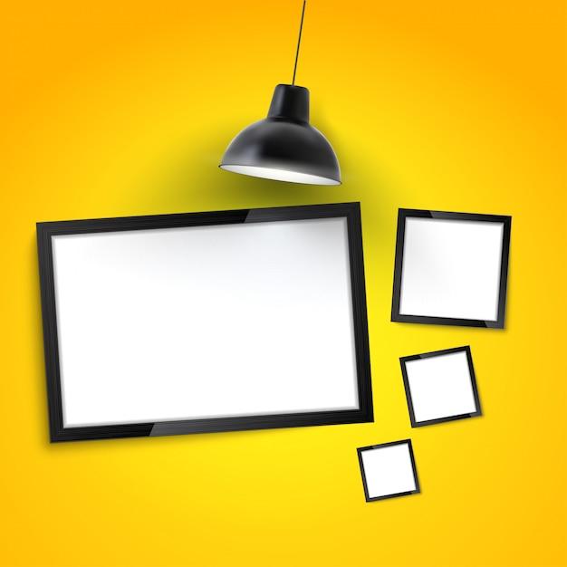 フォトフレームギャラリーモックアップ。掛かるランプが付いている黄色の壁の額縁。 Premiumベクター
