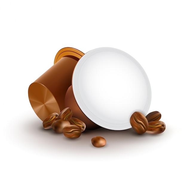 コーヒー豆入りカプセル入りコーヒー Premiumベクター