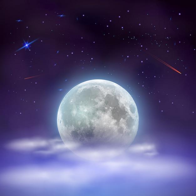 雲の後ろに隠された満月の夜空。 Premiumベクター
