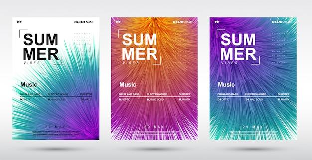 創造的な電子音楽祭とエレクトロ夏ポスター。 Premiumベクター