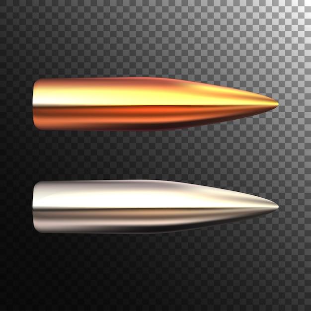 透明な背景に現実的な弾丸。光沢のあるライフルの弾丸。 Premiumベクター
