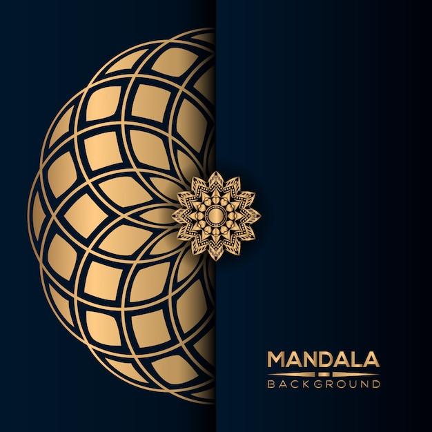 Роскошный фон мандалы с золотым стилем Premium векторы