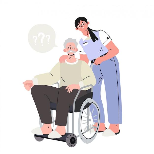 無効な椅子にいるアルツハイマー病の老人。 Premiumベクター