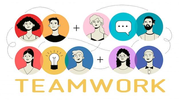 Работа в команде инфографики с красочными иконами людей. Premium векторы
