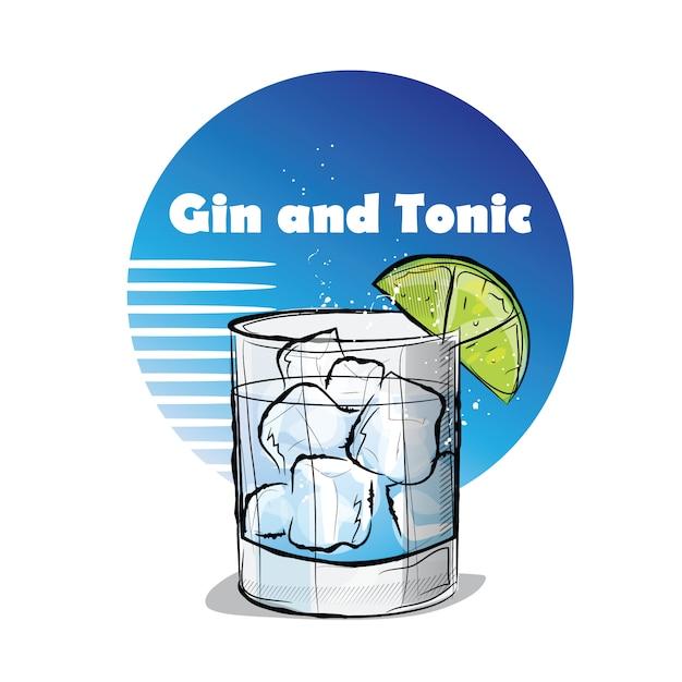 Ручной обращается иллюстрации коктейля. джин и тоник. Premium векторы