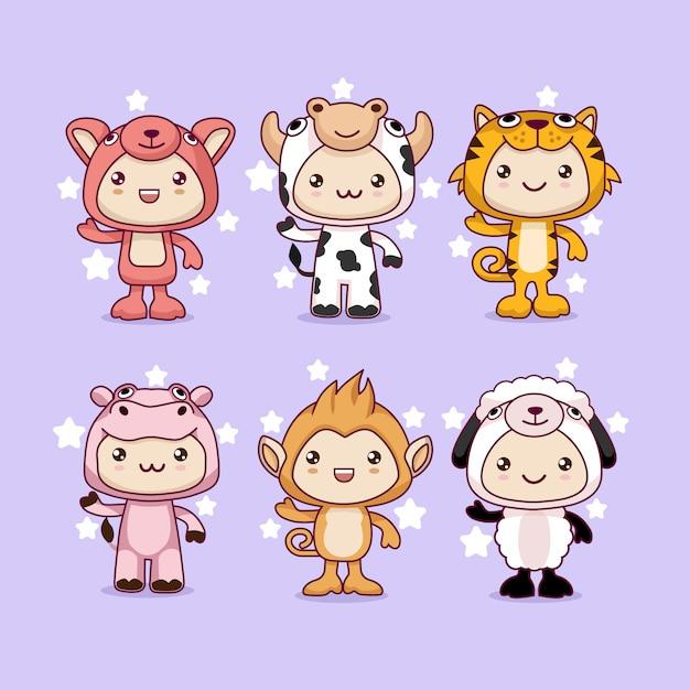 Каваи мультфильм животных Premium векторы
