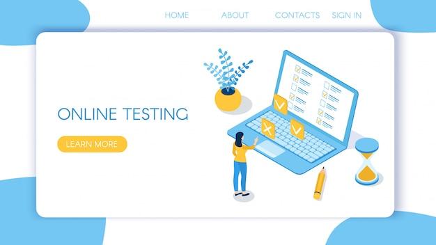 Целевая страница для онлайн-тестирования Premium векторы