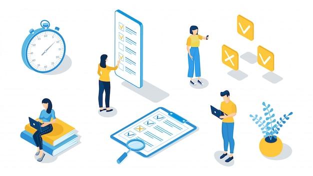 Концепция онлайн экзамена, онлайн тестирование, анкета, онлайн-образование, опрос, интернет-викторина. изометрические векторные иллюстрации. Premium векторы