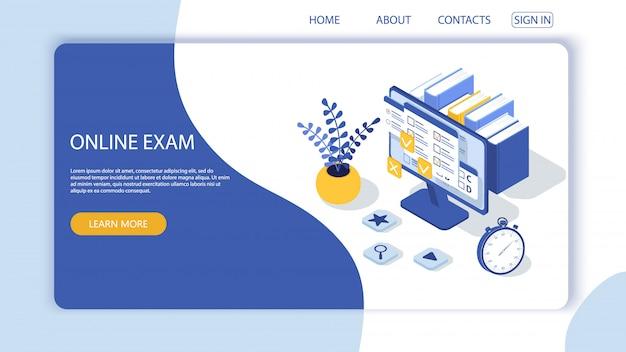 Целевая страница с шаблоном дизайна для анкеты, онлайн-опрос образования. онлайн экзамен компьютер веб-приложение. образование, понятие вектора знаний. Premium векторы