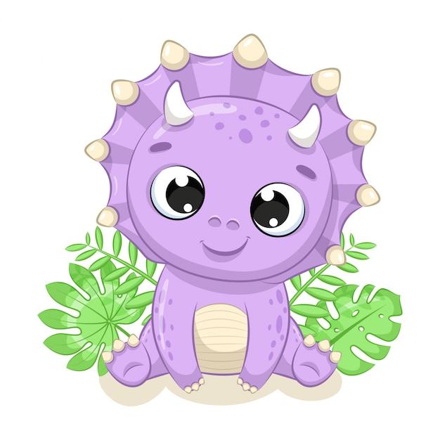 Милая иллюстрация динозавра младенца. иллюстрация для детского душа, поздравительной открытки, приглашения на вечеринку, модная одежда печать футболки. Premium векторы