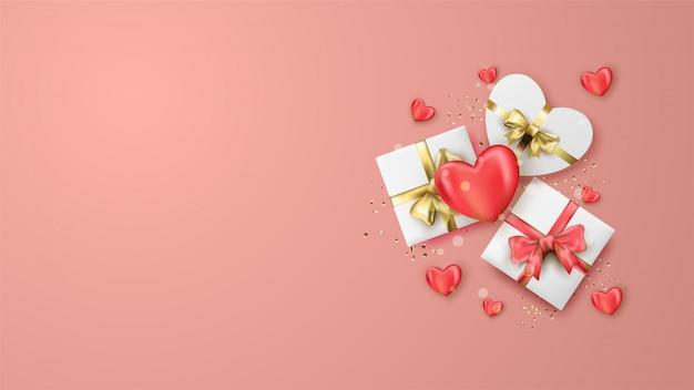 С днем святого валентина баннер с реалистичными сердцами Premium векторы