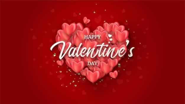 赤の赤い愛バルーンスタックのイラストとバレンタインデーの背景 Premiumベクター