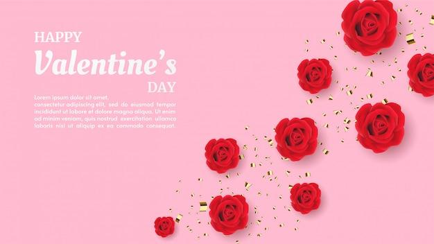 День святого валентина фон с иллюстрацией красной розы Premium векторы