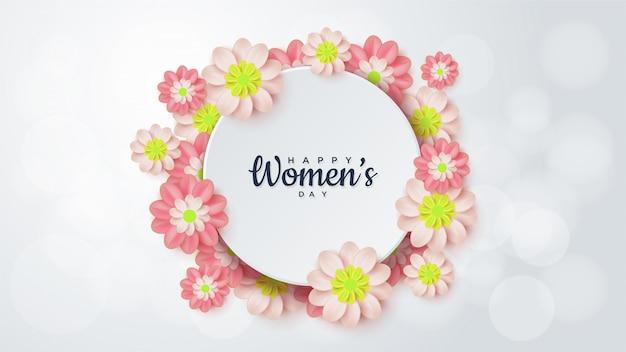 Женский день в окружении цветов. Premium векторы