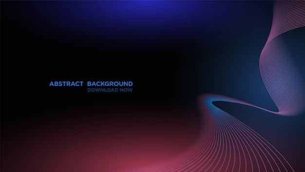 Современный абстрактный фон с прозрачной синей волной на темном Premium векторы