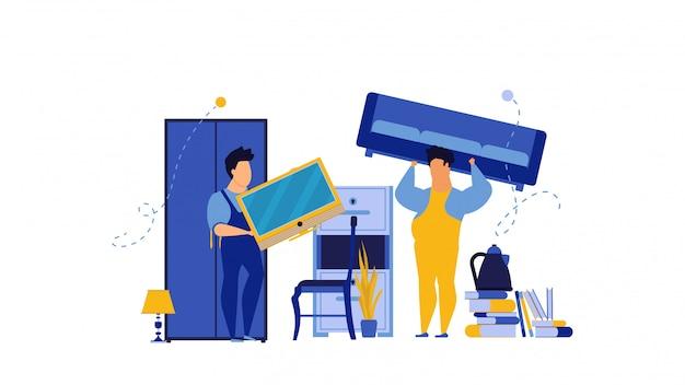 Обслуживайте упаковку людей мебели иллюстрации работник человек. Premium векторы