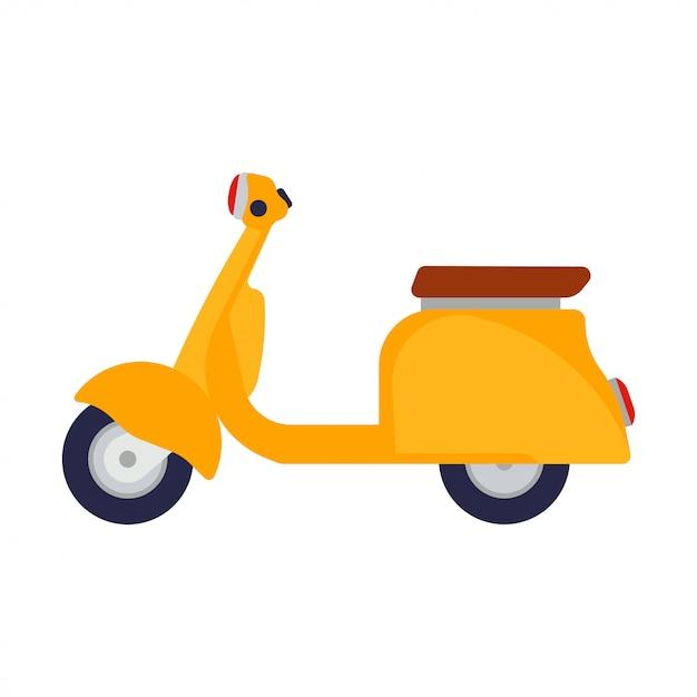 Дизайн велосипеда значка желтого взгляда со стороны иллюстрации самоката плоский. Premium векторы