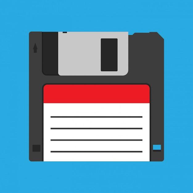 フロッピーディスクフロッピーディスクヴィンテージ黒バックアップデバイスの時代遅れのベクトルのアイコン Premiumベクター