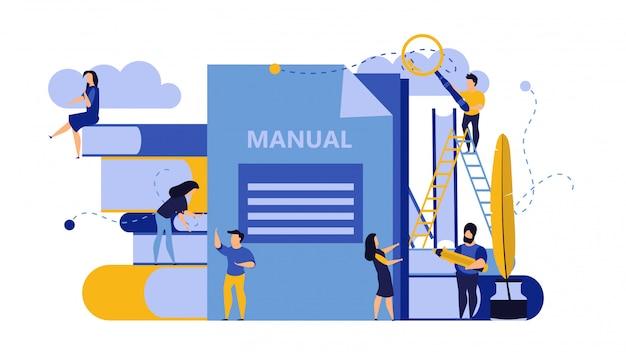 Мужчина и женщина создают документ руководства. Premium векторы