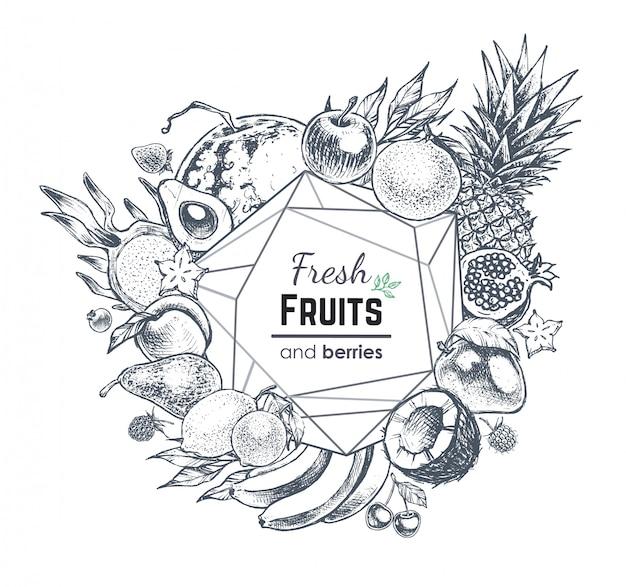 果物と果実のフレーム、手描きスタイルの食べ物イラスト Premiumベクター