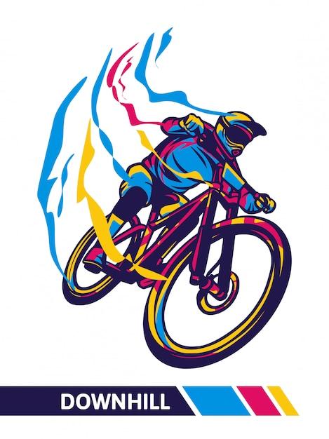 Иллюстрация движения горного велосипеда вниз Premium векторы