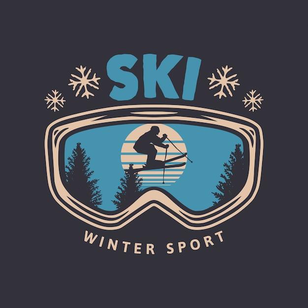 Лыжный зимний спорт винтажный типография дизайн футболки с очками и силуэт лыжника Premium векторы