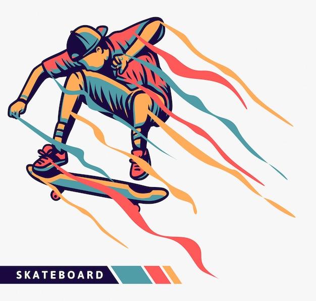 Скейтбордист красочные иллюстрации с эффектом движения Premium векторы