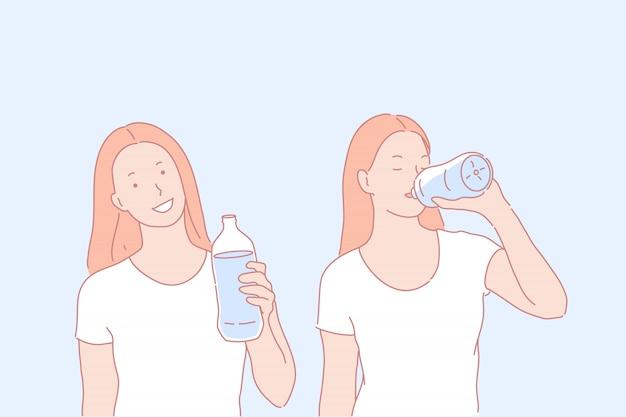 Иллюстрация характера питьевой воды характера женщины Premium векторы