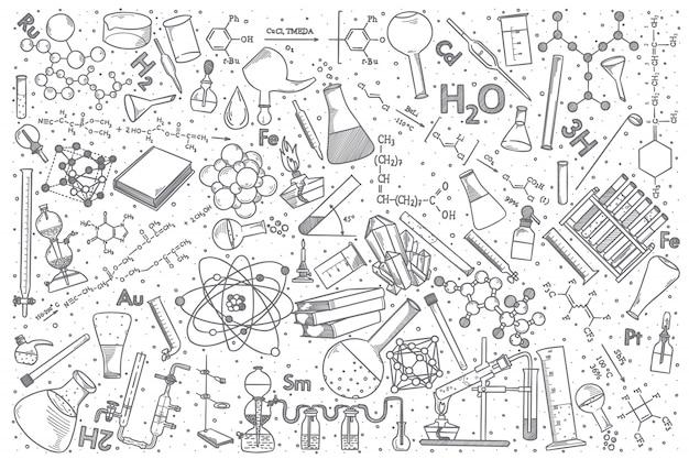 手描き化学ベクトル落書きセット。 Premiumベクター