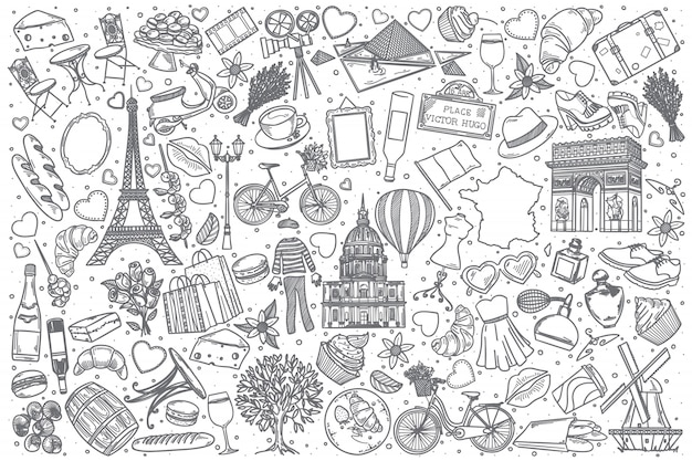 Набор рисованной франции каракули Premium векторы