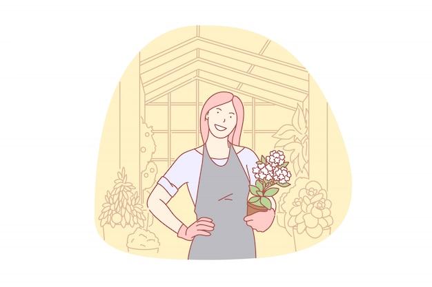 Садоводство, цветочные, органические, бизнес, волонтер иллюстрации Premium векторы