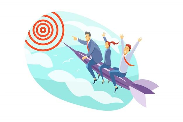 Команда, цель, мотивация, запуск, лидерство, бизнес-концепция Premium векторы