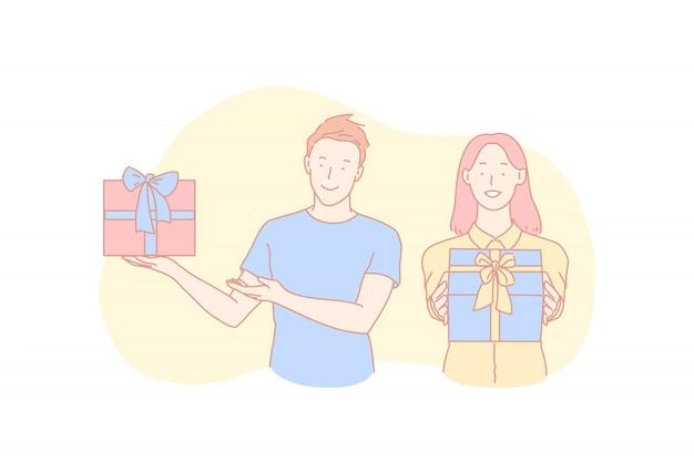 Поздравление с днем рождения, праздничная традиция, концепция празднования рождества Premium векторы