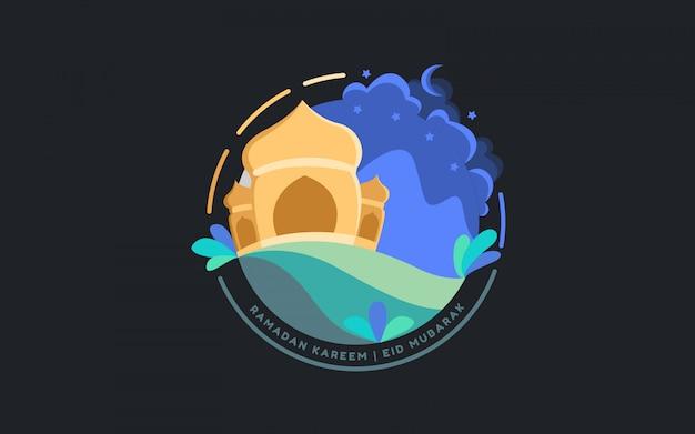 フラットイラストイスラムモスクラマダン夜 Premiumベクター