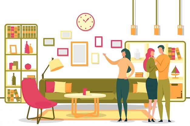 幸せなカップルに部屋を示す漫画女性全米リアルター協会加入者 Premiumベクター
