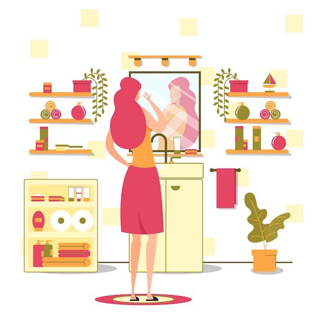 女性衛生イブニングルーチンフラットベクトル概念 Premiumベクター