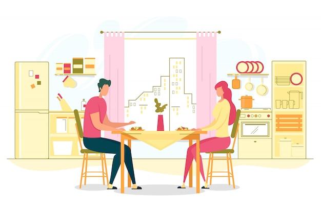 ホームフラットコンセプトでロマンチックなディナー Premiumベクター