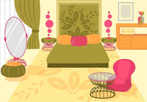 イラスト快適で美しい寝室。 Premiumベクター