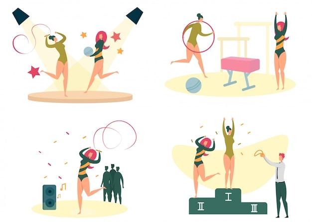 女性のスポーツ、フィットネス、トレーニングアクティビティセット。 Premiumベクター