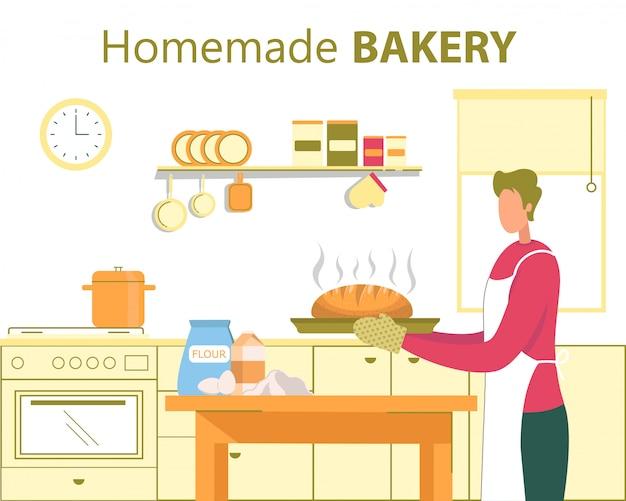 自家製パン、家庭料理フラットコンセプト Premiumベクター