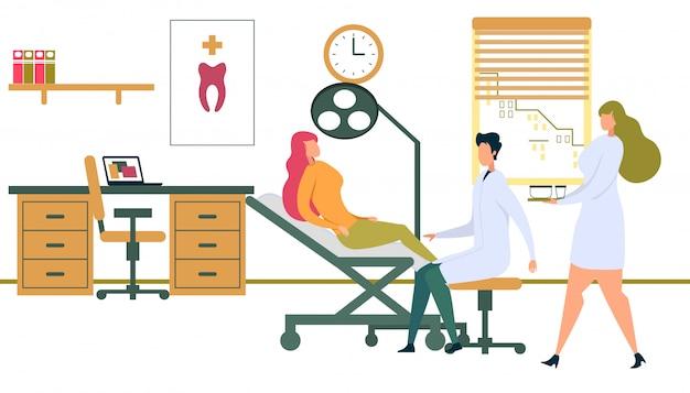 ランプと歯科医の椅子に座っている女性患者 Premiumベクター