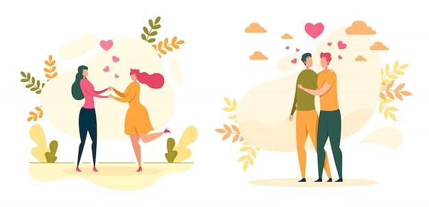 Гомосексуальная любовь, отношения иллюстрация Premium векторы