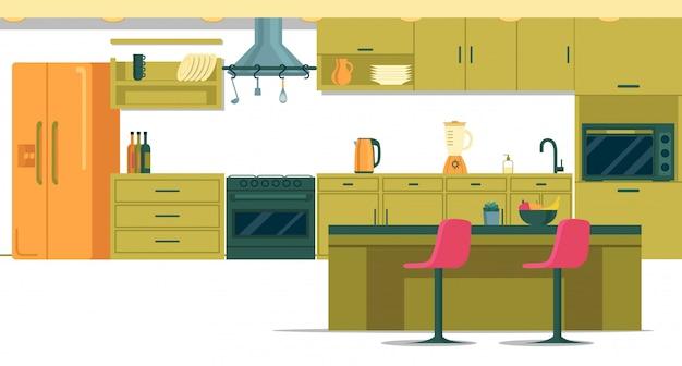 キッチンアイランド付きの広々とした設備の整ったキッチン Premiumベクター