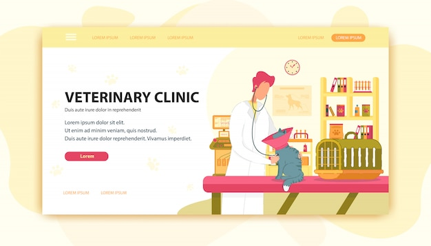 獣医と猫のクリニック検査表。 Premiumベクター